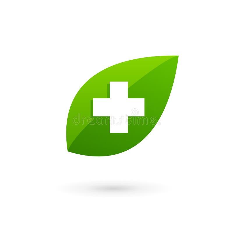 Medyczny eco loga ikony projekta szablon z krzyżem plus i ilustracji
