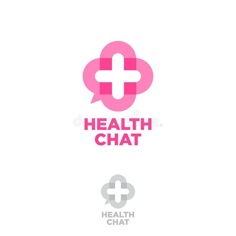 Medyczny gadka loga zdrowie gadki emblemat Online medycznej konsultaci ikony gadki guzik jako medyczny krzyż ilustracja wektor