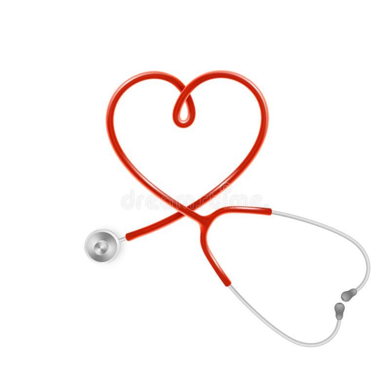 Medyczny i opieka zdrowotna pojęcie, doktorski s stetoskop odizolowywający na białym tle 10 eps royalty ilustracja