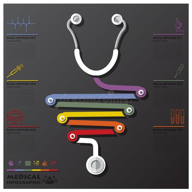 Medyczny I zdrowie Podłączeniowy linii czasu biznes Infographic royalty ilustracja
