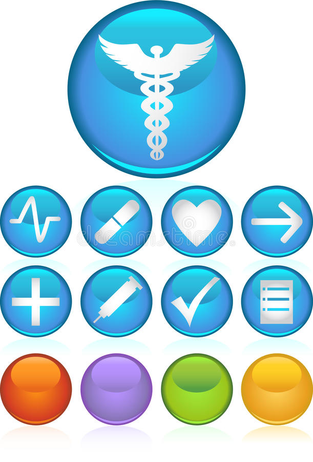 medyczny ikony round royalty ilustracja