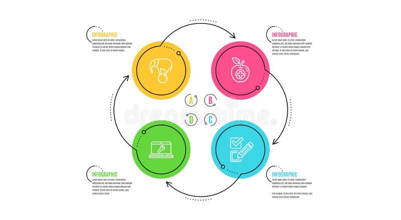 Medyczny jedzenie, laptop naprawa i słoń na balowych ikonach ustawiać, Checkbox znak wektor ilustracja wektor