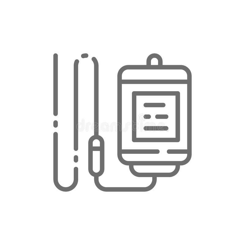 Medyczny kropla kontuar, medycyna wkraplacz, infuzji butelka, cewnik kreskowa ikona ilustracja wektor