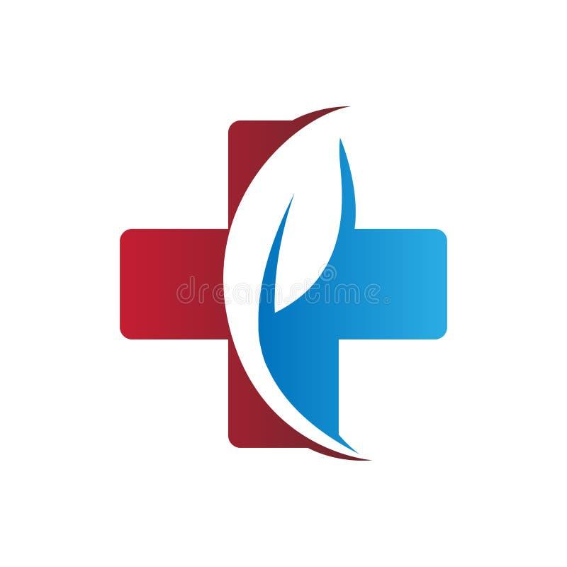 Medyczny krzyża i liścia ziołowej medycyny logo royalty ilustracja