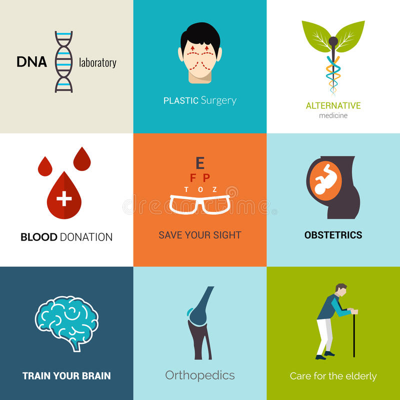 Medyczny loga set ilustracji