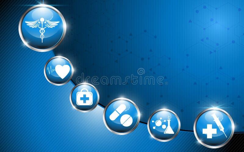 Medyczny logo na glansowanym okręgu abstrakta tle ilustracja wektor