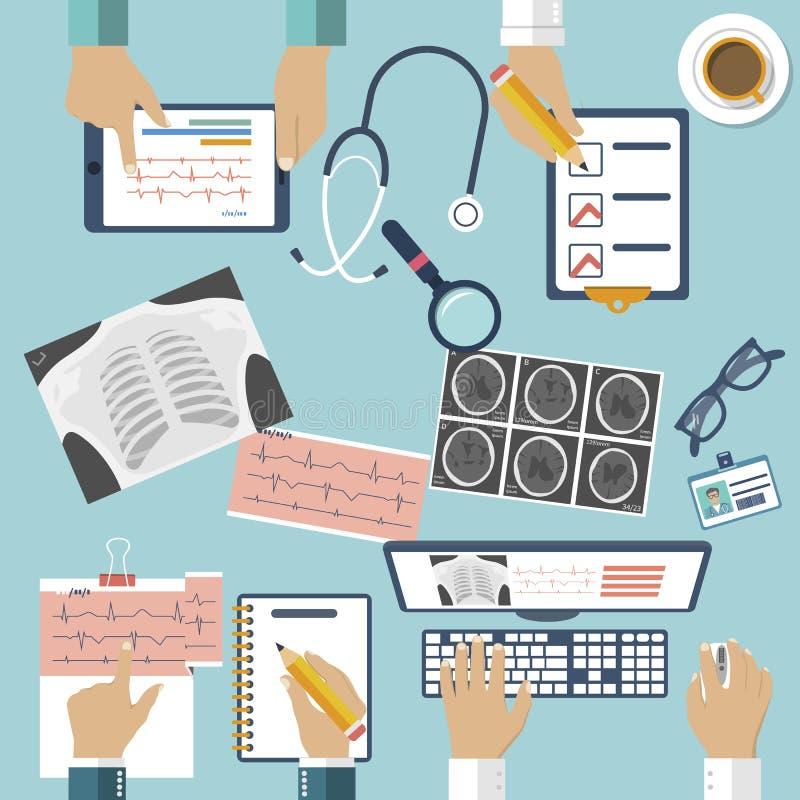 Medyczny miejsce pracy Grupowy profesjonalista fabrykuje działanie przy stołem w klinice ilustracji