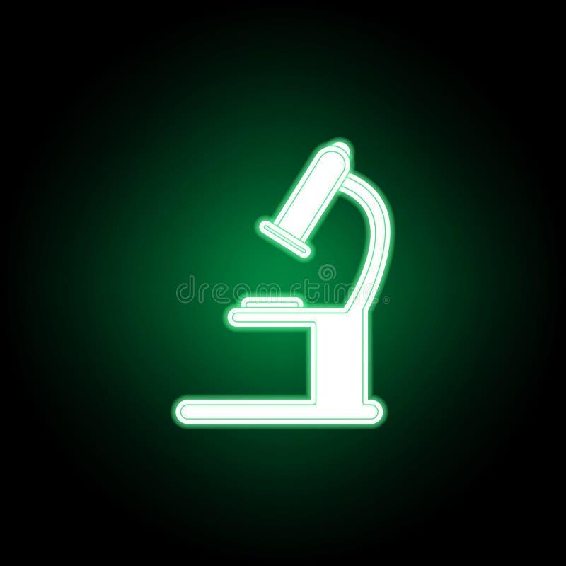 Medyczny, mikroskop ikona w neonowym stylu Element medycyny ilustracja Znaki i symbol ikona mog? u?ywa? dla sieci, logo, wisz?ca  royalty ilustracja