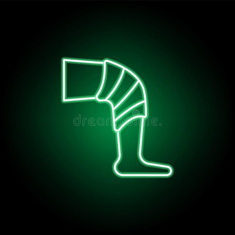 Medyczny, noga z bandaż ikoną w neonowym stylu Element medycyny ilustracja Znaki i symbol ikona mog? u?ywa? dla sieci, logo, ilustracja wektor