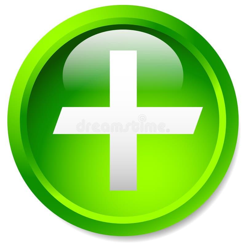 Medyczny, opieka zdrowotna, pierwsza pomoc plus, przecinająca ikona Glansowany okręgu b ilustracja wektor