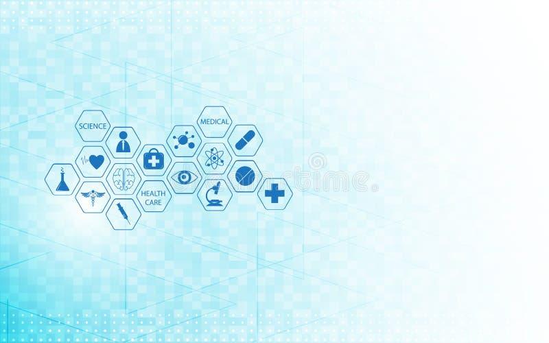 Medyczny opieki zdrowotnej ikony projekt na technologii cyfrowej innowaci pojęcia tle ilustracji