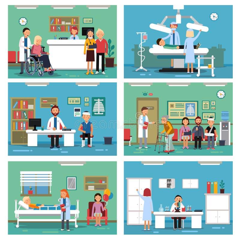 Medyczny personel przy pracą Pielęgniarka pacjenci w szpitalnych wnętrzach i lekarka również zwrócić corel ilustracji wektora royalty ilustracja