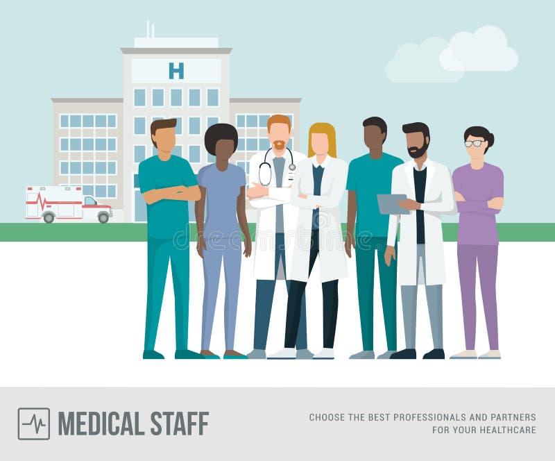 Medyczny personel przy szpitalem royalty ilustracja
