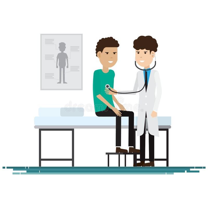 Medyczny personel z pacjentami również zwrócić corel ilustracji wektora ilustracji