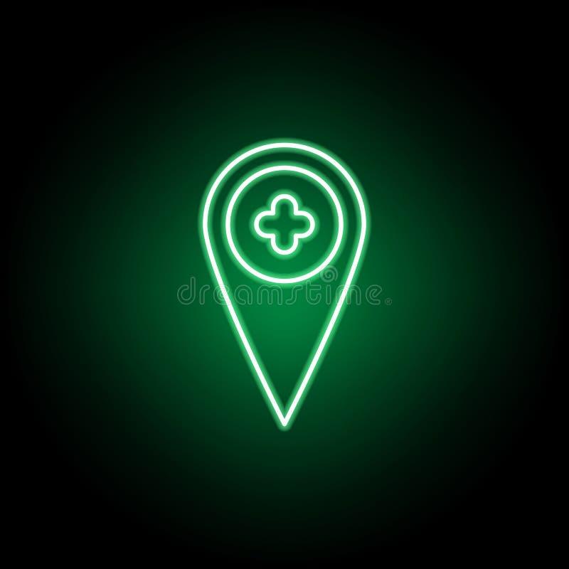 Medyczny, placeholder ikona w neonowym stylu Element medycyny ilustracja Znaki i symbol ikona mog? u?ywa? dla sieci, logo, royalty ilustracja