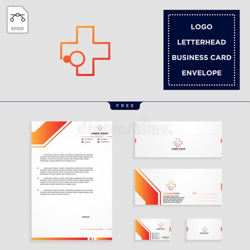 medyczny przecinający logo szablon i bezpłatny letterhead, koperta, wizytówka ilustracja wektor
