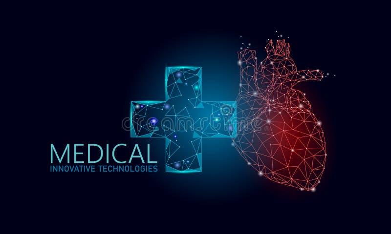 Medyczny przecinający zdrowy ludzki serce 3d Medycyny wzorcowy niski poli- Doktorski online poj?cie Medycznej konsultacji app Sie ilustracja wektor