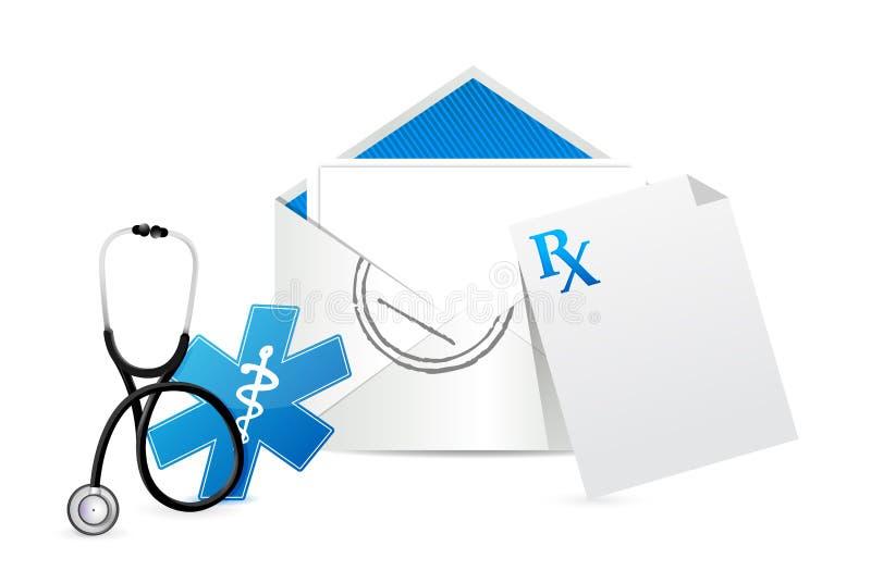 Medyczny recepturowy koperta list ilustracji