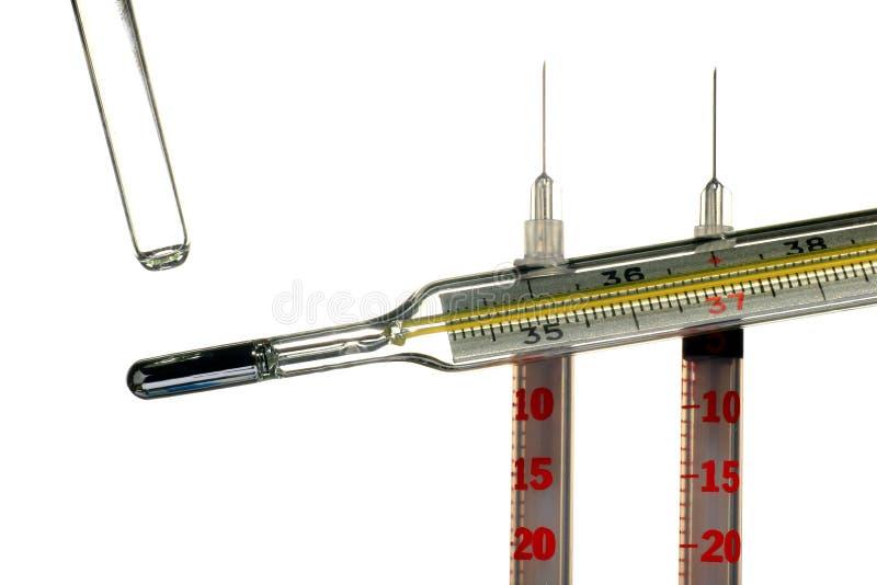 Medyczny rtęć termometr, kreatywnie set zdjęcie stock