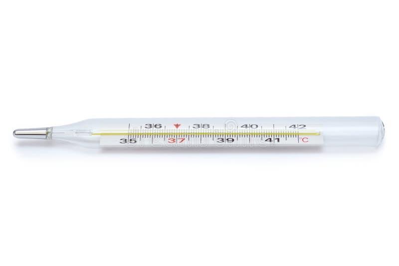 Medyczny rtęć termometr odizolowywający na białym tle zdjęcia stock