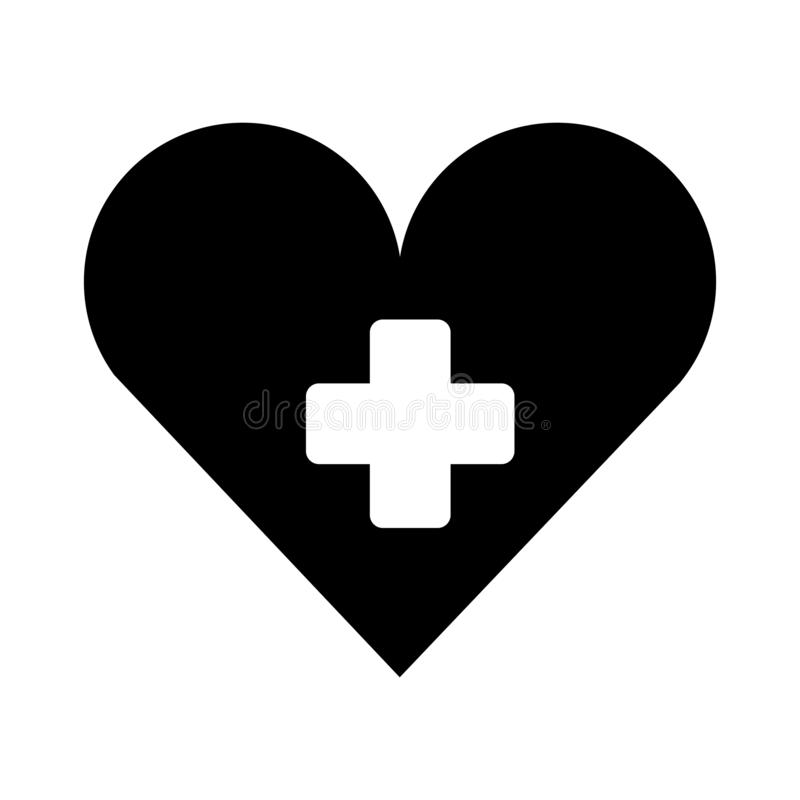 Medyczny serce z przecinającą symbol sylwetką odizolowywał ikonę ilustracja wektor