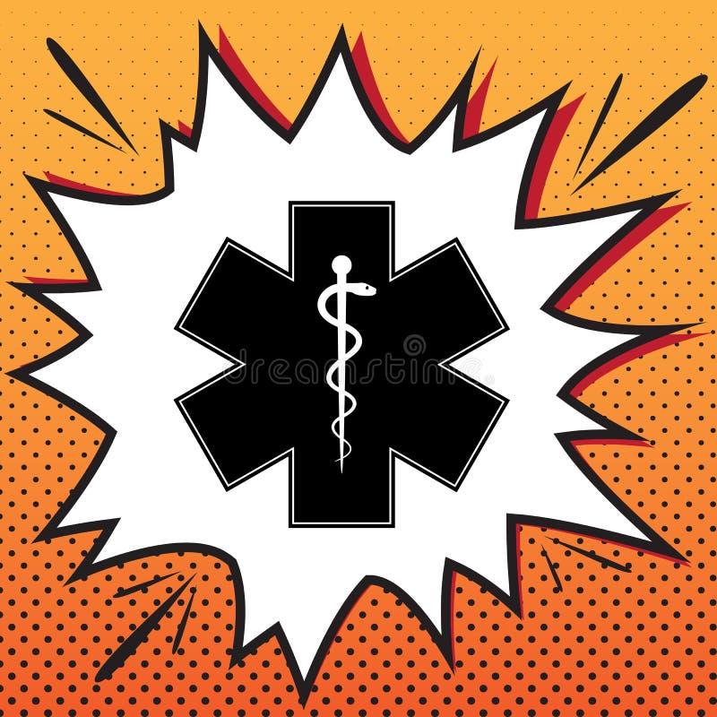 Medyczny symbol gwiazda życie z granicą lub nagły wypadek Vec royalty ilustracja
