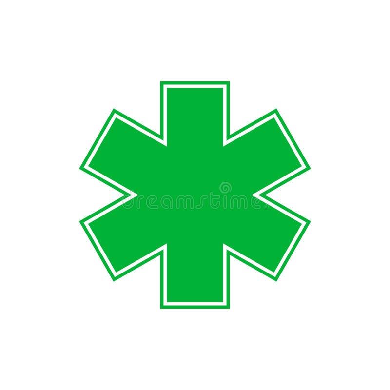 Medyczny symbol nag?ego wypadku lub zieleni gwiazda ?ycie wektoru ilustracja ilustracji