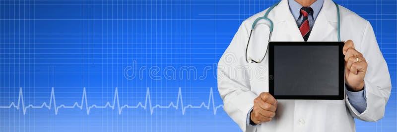 Medyczny sztandar z lekarką zdjęcie stock