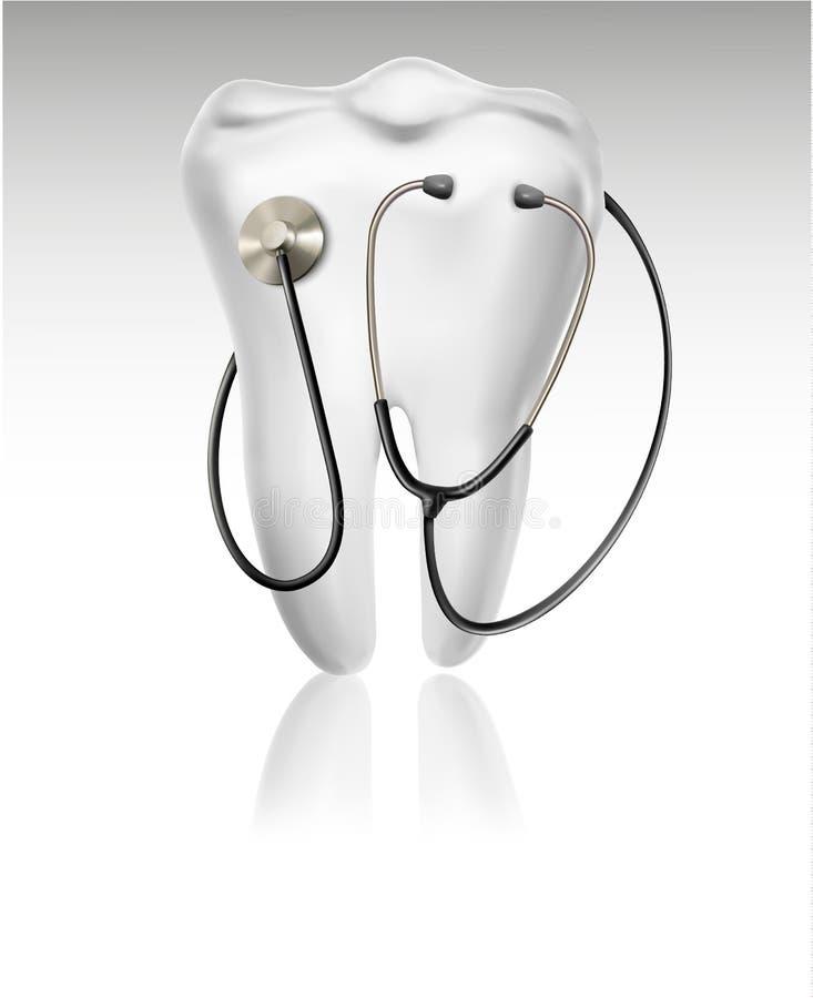 Medyczny tło z zębem i stetoskopem. ilustracja wektor