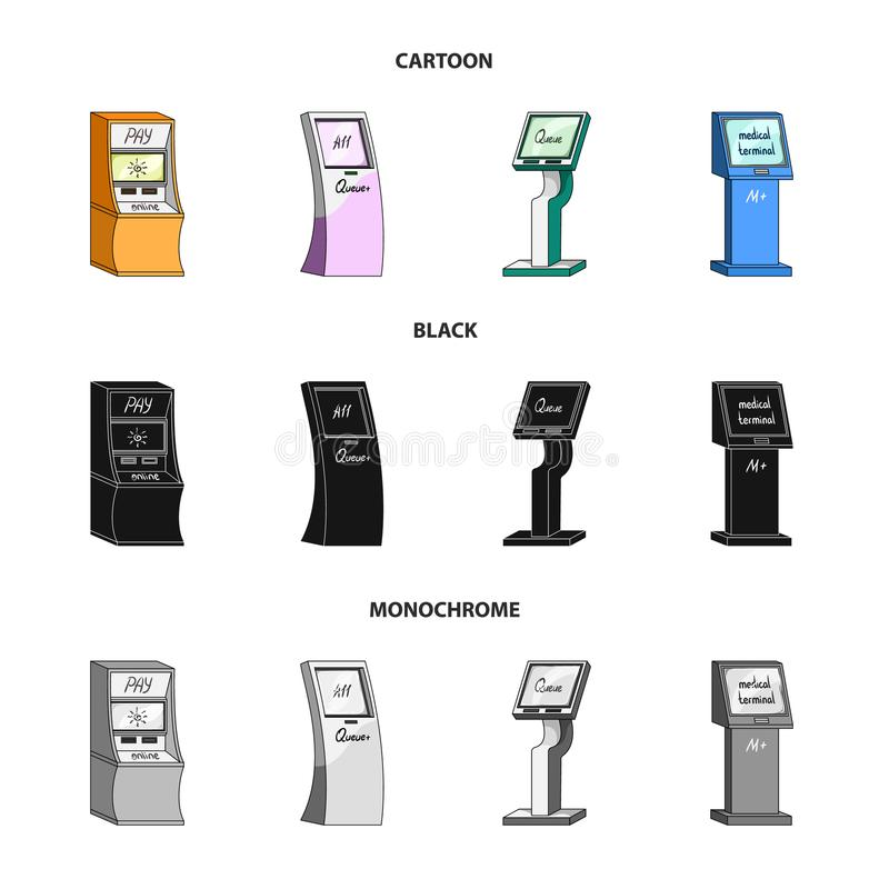 Medyczny terminal, ATM dla zapłaty, aparat dla kolejki Terminal ustawiać inkasowe ikony w kreskówce, czerń, monochromu styl royalty ilustracja