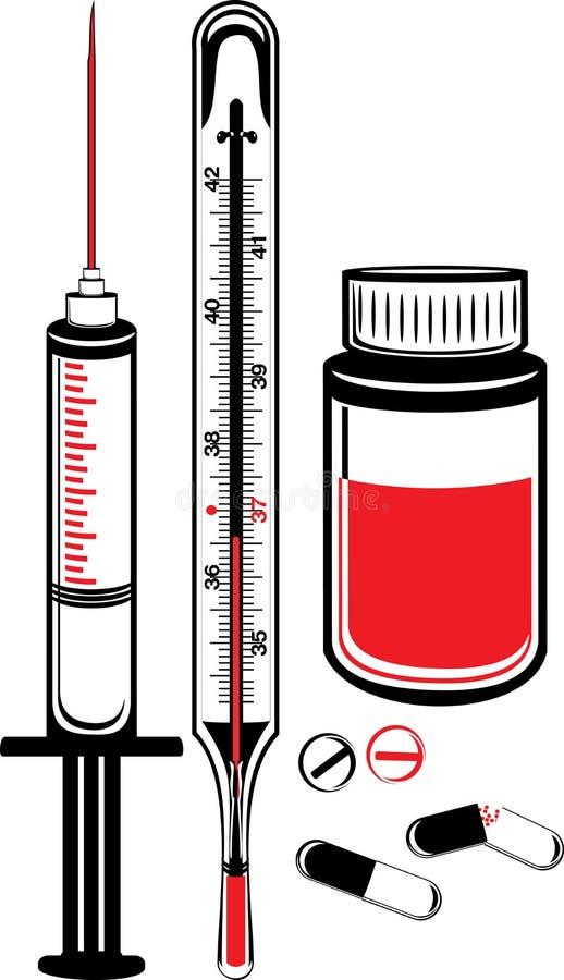 Medyczny termometr, strzykawka i buteleczka z pigułkami, royalty ilustracja