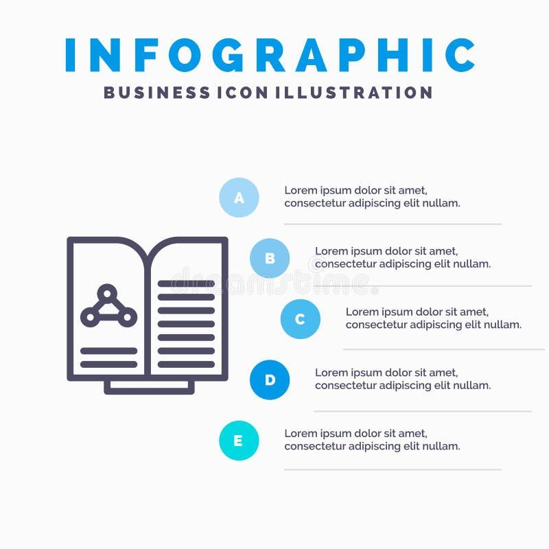 Medyczny, test, raport, książki Kreskowa ikona z 5 kroków prezentacji infographics tłem ilustracja wektor