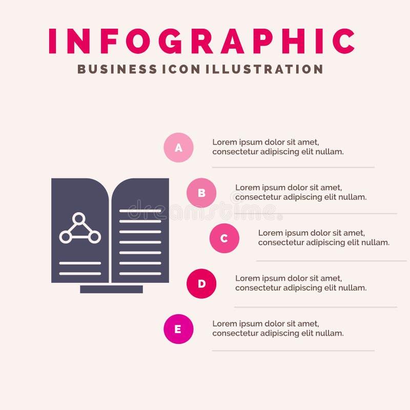 Medyczny, test, raport, Książkowy Stały ikony Infographics 5 kroków prezentacji tło ilustracja wektor