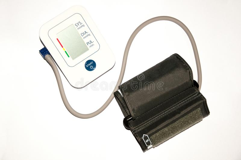 Medyczny tonometer, ciśnienie krwi metr odizolowywający na bielu obraz stock
