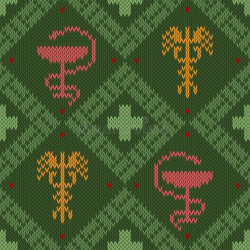 Medyczny trykotowy woolen wzór z pucharem Hygieia i oskrzydlony kaduceusz royalty ilustracja