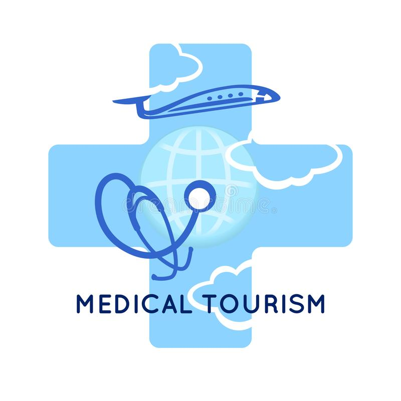 Medyczny turystyki pojęcia symbolu tło Medyczny stetoskop na kuli ziemskiej, samolocie i krzyżu jak medycznego znaka, Szablonu lo royalty ilustracja