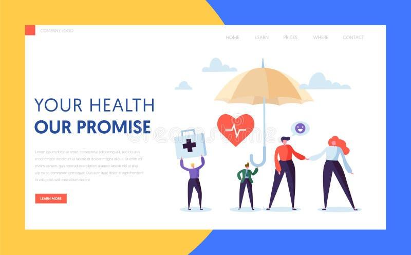 Medyczny ubezpieczenia zdrowotnego lądowania strony pojęcie Mężczyzny charakteru skrytka pod parasolem Medycyny opieki zdrowotnej ilustracja wektor