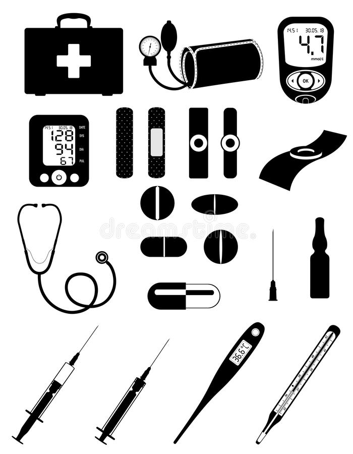 Medyczny ustalony ikony wyposażenie wytłacza wzory czarnego konturu silh i protestuje ilustracja wektor