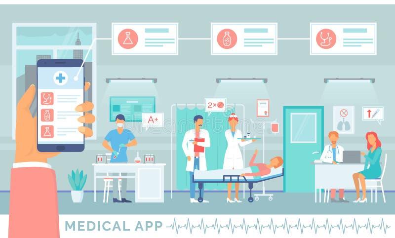 Medyczny zastosowanie, Online usługa dla pacjentów royalty ilustracja