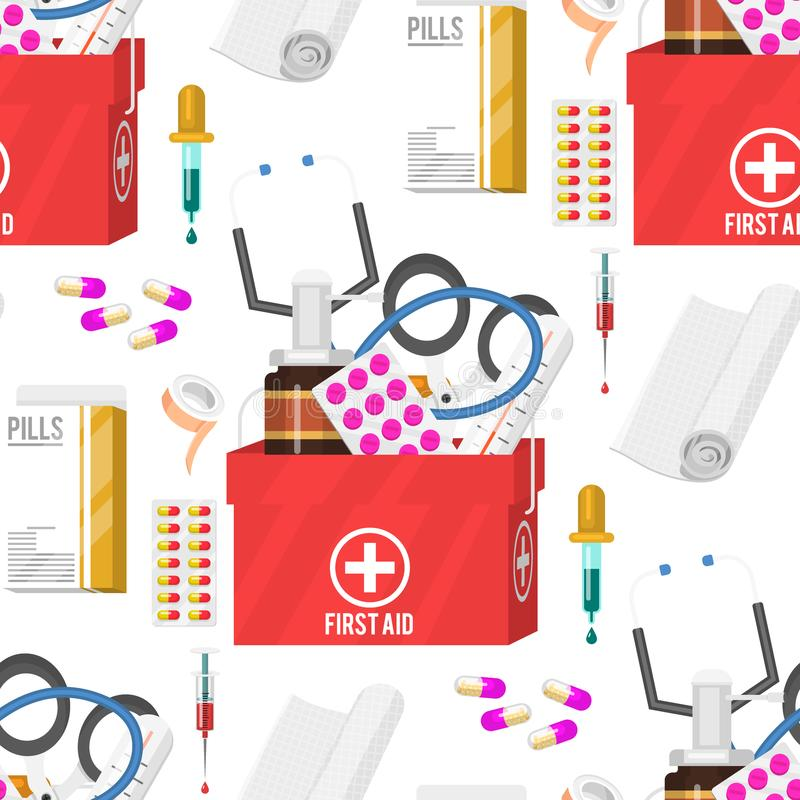 Medycznych instrumentów lekarki narzędzi medicament tła kreskówki stylu lekarstwa szpitala bezszwowi deseniowi zdrowie royalty ilustracja