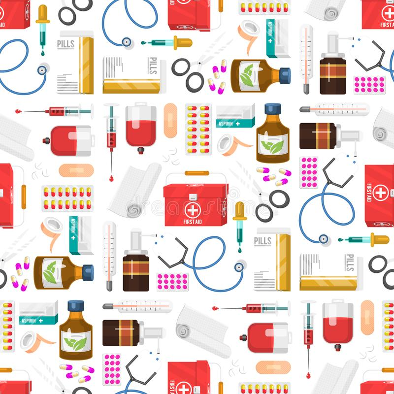 Medycznych instrumentów lekarki narzędzi medicament tła kreskówki stylu lekarstwa szpitala bezszwowi deseniowi zdrowie ilustracja wektor