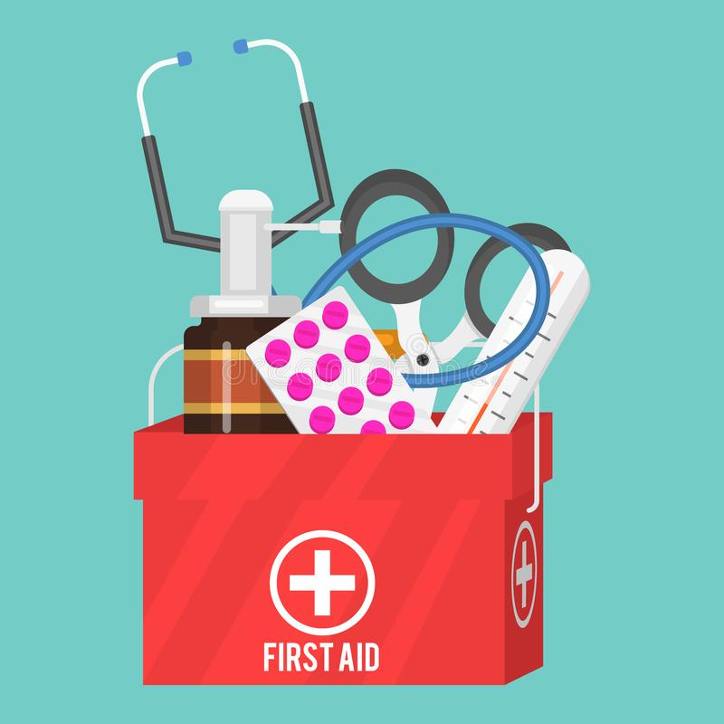 Medycznych instrumentów pomocy zestawu lekarki narzędzi medicament w kreskówka stylu lekarstwa zdrowie traktowania szpitalnej ilu ilustracja wektor