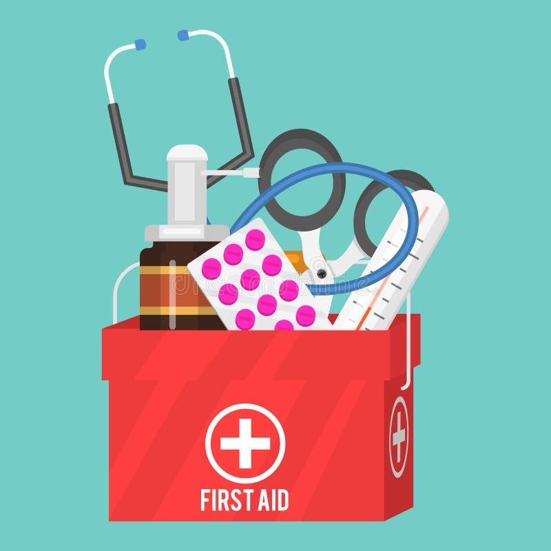 Medycznych instrumentów pomocy zestawu lekarki narzędzi medicament w kreskówka stylu lekarstwa zdrowie traktowania szpitalnym wek royalty ilustracja