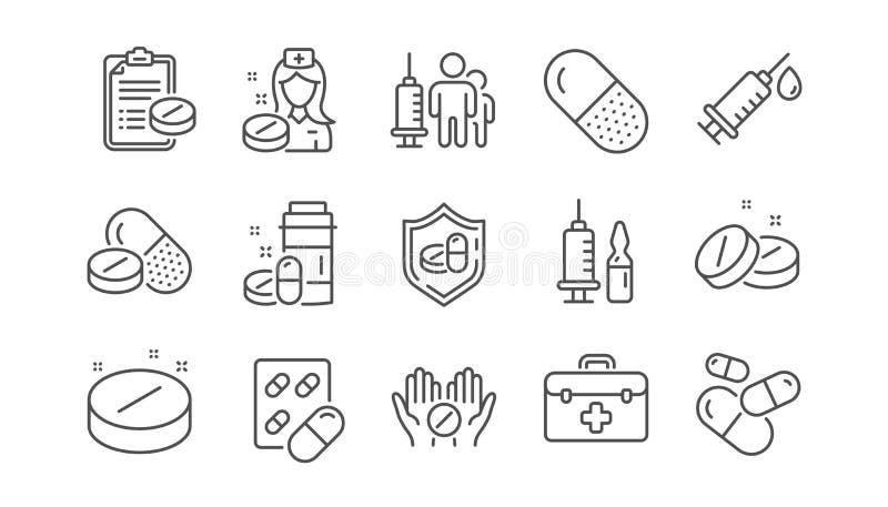 Medycznych lek?w kreskowe ikony Strzykawki szczepienie, recepta i pigułka, Liniowy set wektor ilustracji
