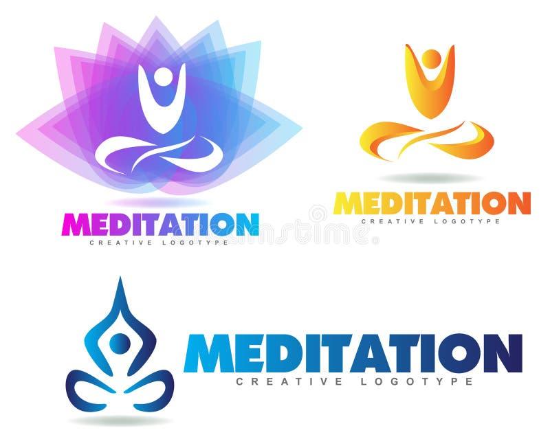 Medytaci joga logo ilustracja wektor