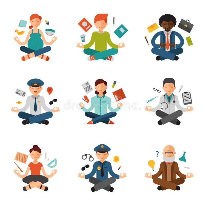 Medytaci joga wektorowi ludzie relaksują procedura zawodów policjanci, lekarki, biznesmena i pilota relaks różnego, royalty ilustracja