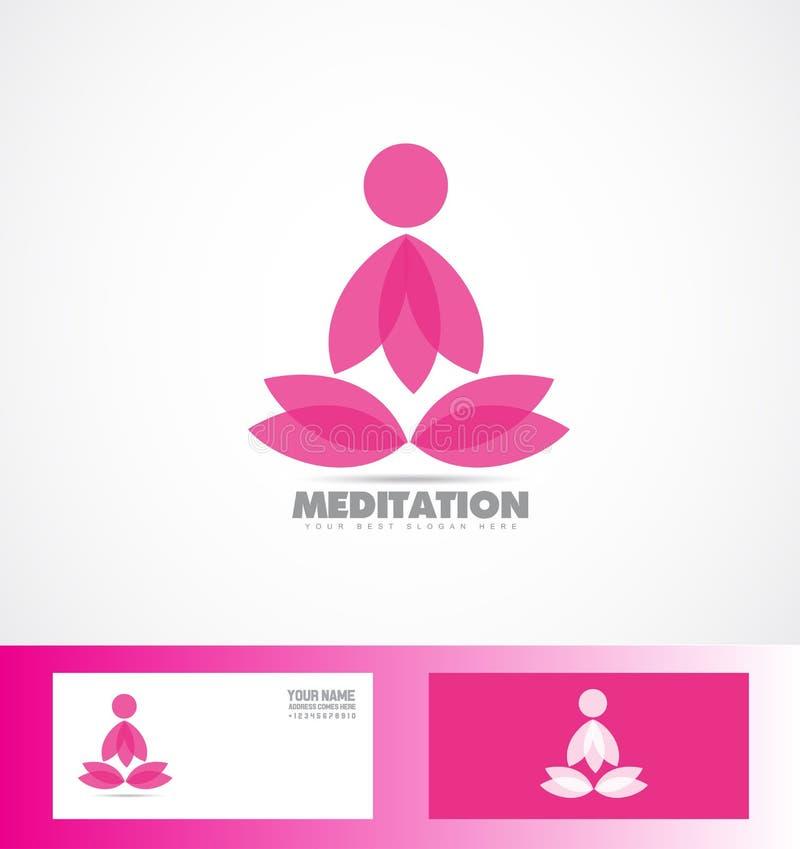 Medytacja lotosowego kwiatu loga joga ikona royalty ilustracja