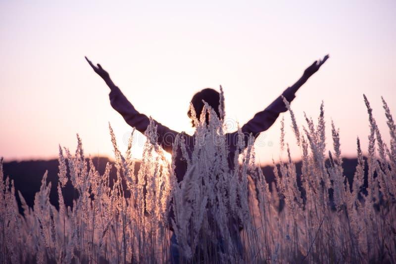 Medytacja w lata polu zdjęcia stock