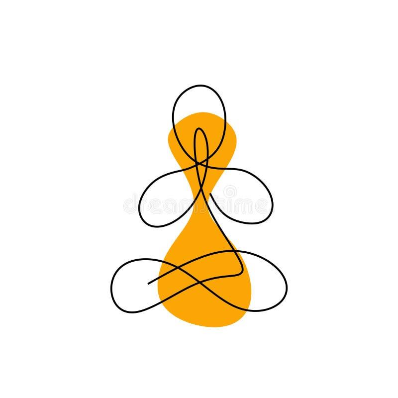 Medytacji jeden kreskowy rysunek namaste pojęcia minimalizmu ciągły projekt ilustracji