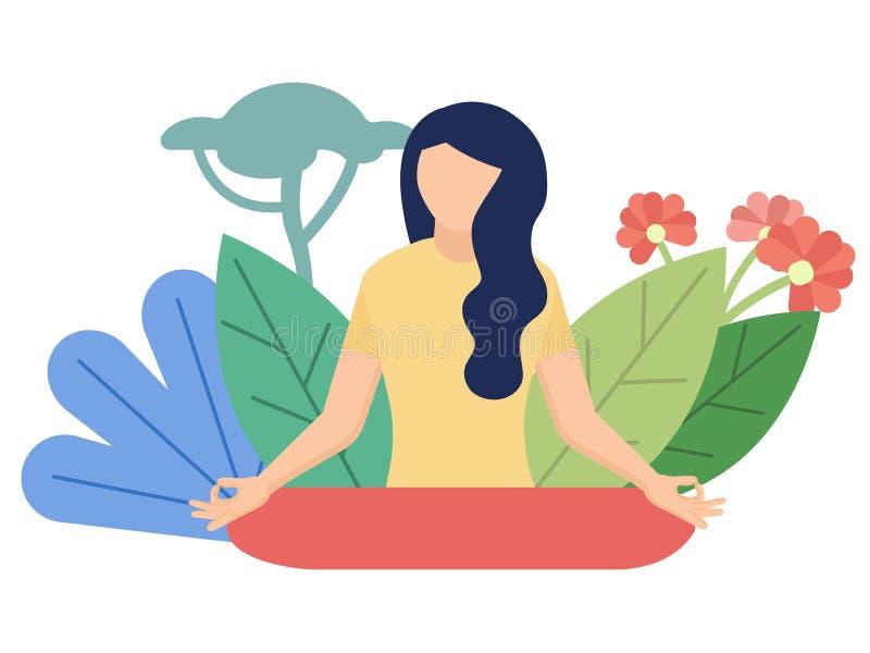 Medytacji mieszkania stylu ilustracja na bielu ilustracja wektor